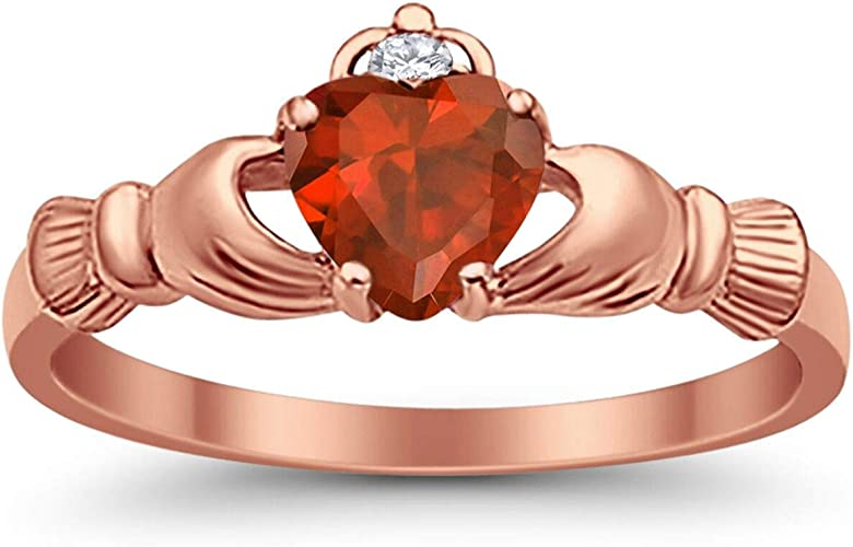 Heart Shape Center Clear Cubic Zirconia Heart Ring Rhodium Plated Sterling Silver