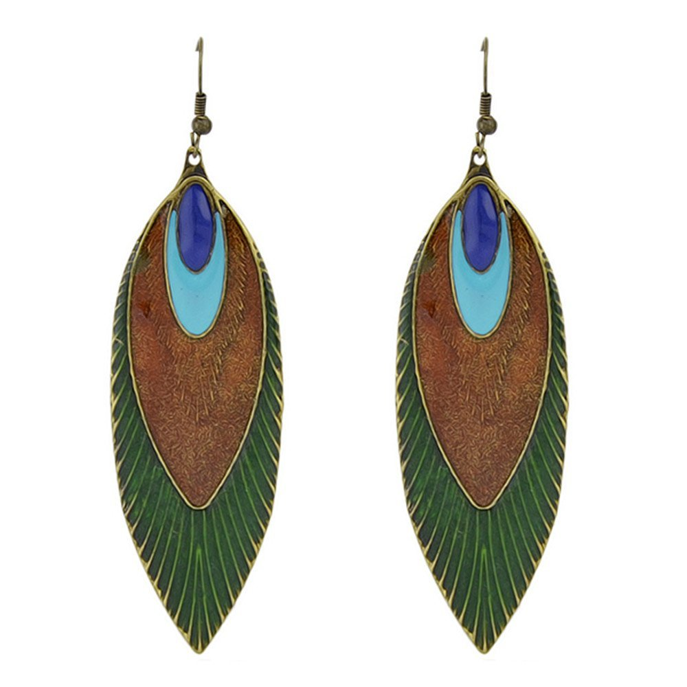 Feelontop® Fashion Vintage Feather Leaf Shape Drop Earrings with Jewelry Pouch FJ-ER-6005