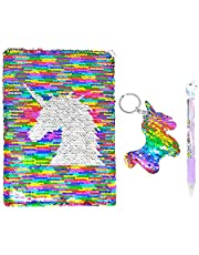 QearFun Unicorn Notebook A5 and Pen Set for Kids, Flippy Sequin Journal Diary for Girl Women Travelers Writing Stationery Student Supplies with a Sequin Unicorn Keyring Gift (Rainbow Unicorn)