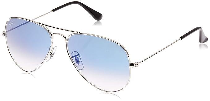 Ray-Ban Aviator Large Metal, Gafas de sol para Hombre, Plateado (Light Blue Gradient), 58