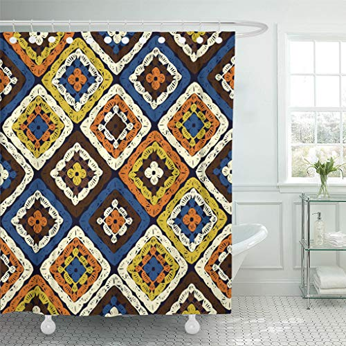 (Semtomn Decorative Shower Curtain Granny Squares Pattern and Ripples Afghan Crochet of Multicolored 66