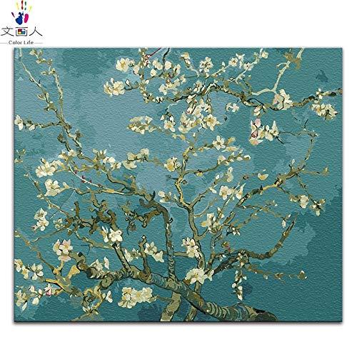 KYKDY Diy Malen nach Zahlen Vincent Van Goghs Gemälden The Starry Night  abstrakte Impression-Kunstbilder nach Zahlen mit Rahmen, 5514 erschossen sich selbst, 100x80 kein Rahmen 100x80 no frame 3259 Apricot flower