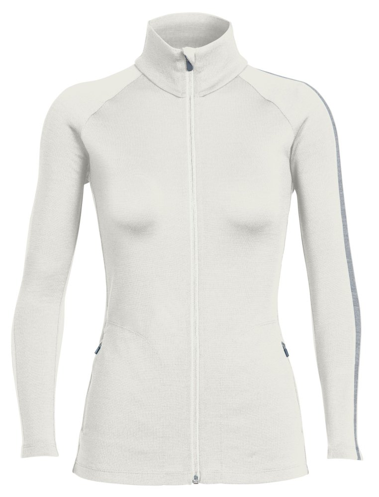 Icebreaker Merino Women's Affinity Long Sleeve Zip, Metro Heather/Snow, X-Large