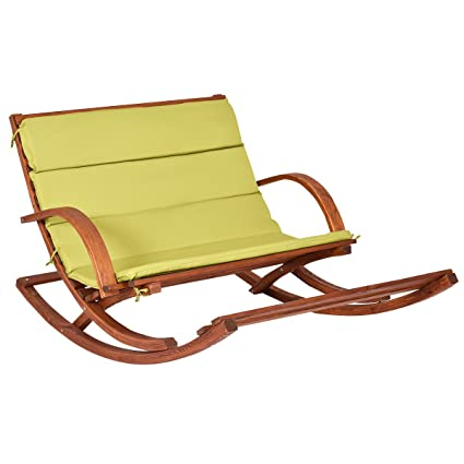 Superbe Giantex Patio Wood 2 Person Rocking Lounge Chair Wood Slat Porch Furni  W/Green Cushion