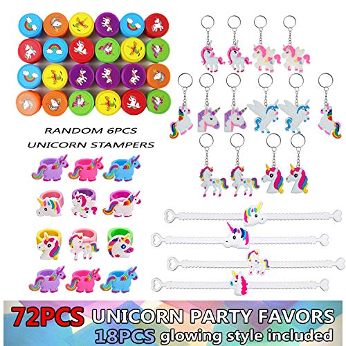 Years Old Boys Girls TTUSTTG01 Unicorn Themed Party Favor Pack For Kids 72 Pieces Birthday Supplies With