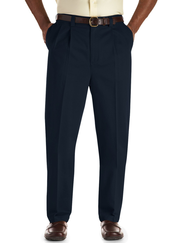 Oak Hill by DXL Big and Tall Pleated Premium Stretch Twill Pants, Navy, 50 X 28, Regular Rise