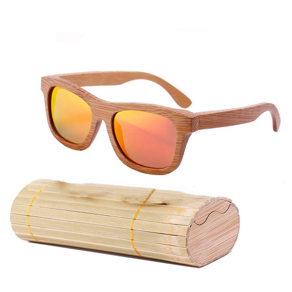 lzndeal Bois Lunettes de soleil en bambou lunettes de soleil polarisé es Lunettes de protection avec une boî te pour Femmes Hommes