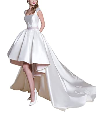 83c91df53 HanlandyBridal Womens Detachable Train Wedding Dress Hi-Lo Satin Appliques  Bridal Gown at Amazon Women's Clothing store: