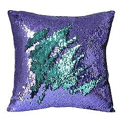 Fengheshun Reversible Sequins Mermaid Pillow Covers 40×40 cm Magical Color Changing Pillowcase Christmas Decoration (Lake blue + light purple)