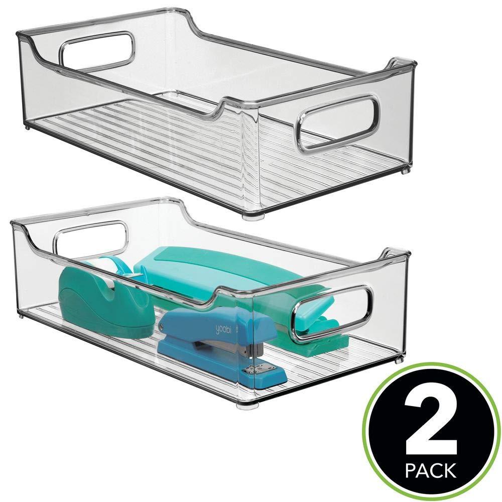 Organizador de escritorio en pl/ástico ba/ño o material de oficina Cajas organizadoras para cocina mDesign Juego de 2 cajas de almacenaje con asas integradas gris humo
