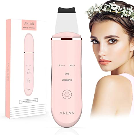 Facial Skin Scrubber,ANLAN 4In1 Electric Ultrasonic EMS Ion Face Cleanser Blackhead Remover Pores Cleaner Wrinkle Remover Comedone Extractor Skin Care Massager USB Rechargeable Beauty Tool,ANLAN
