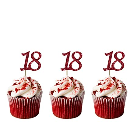 Number 18 Cupcake Toppers