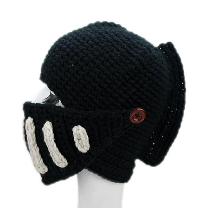 7d40f3b04d2 BIKMAN Vintage Roman Knight Hat Helmet Crochet Beanie Hat (Black) at ...