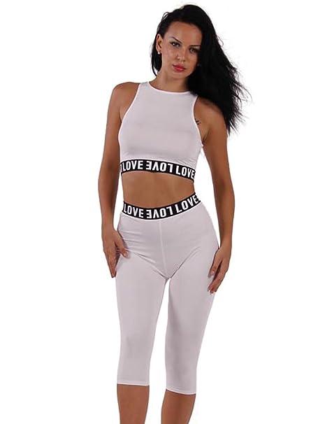 Choies - Conjunto deportivo - para mujer blanco blanco Asiático S=34: Amazon.es: Ropa y accesorios