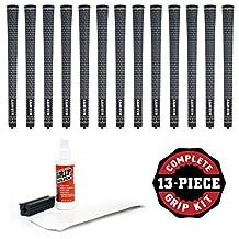 Lamkin Crossline Undersize Black/White (New Logo)-13 Piece Grip Kit (with Tape, Solvent, Vise Clamp)