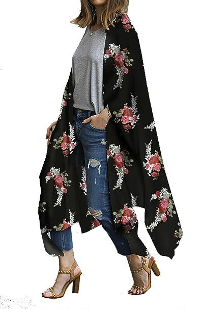 353b3534c0 casuress Women's Sheer Chiffon Blouse Tops Kimono Cardigan Floral Loose  Cover Ups Outwear Plus Size Black