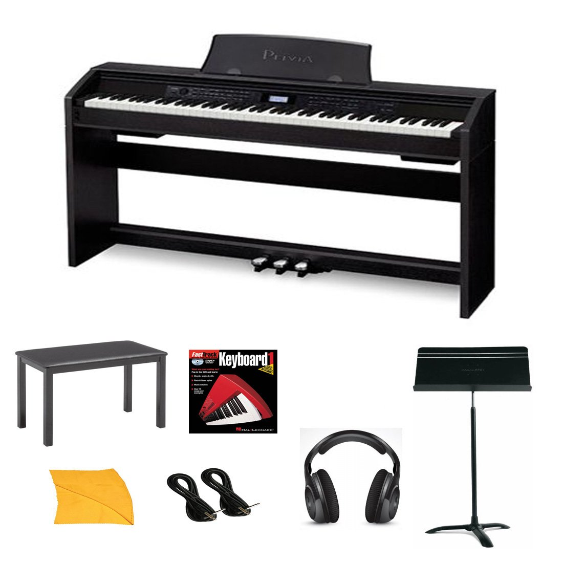 Casio PX780 Digital Piano Bundle With Casio CB7BK Furniture Style Bench, Standard Headphones, Hal Leonard Instructional Book, Quarter Inch Cables , Polishing Cloth & Heavy Duty Music Stand