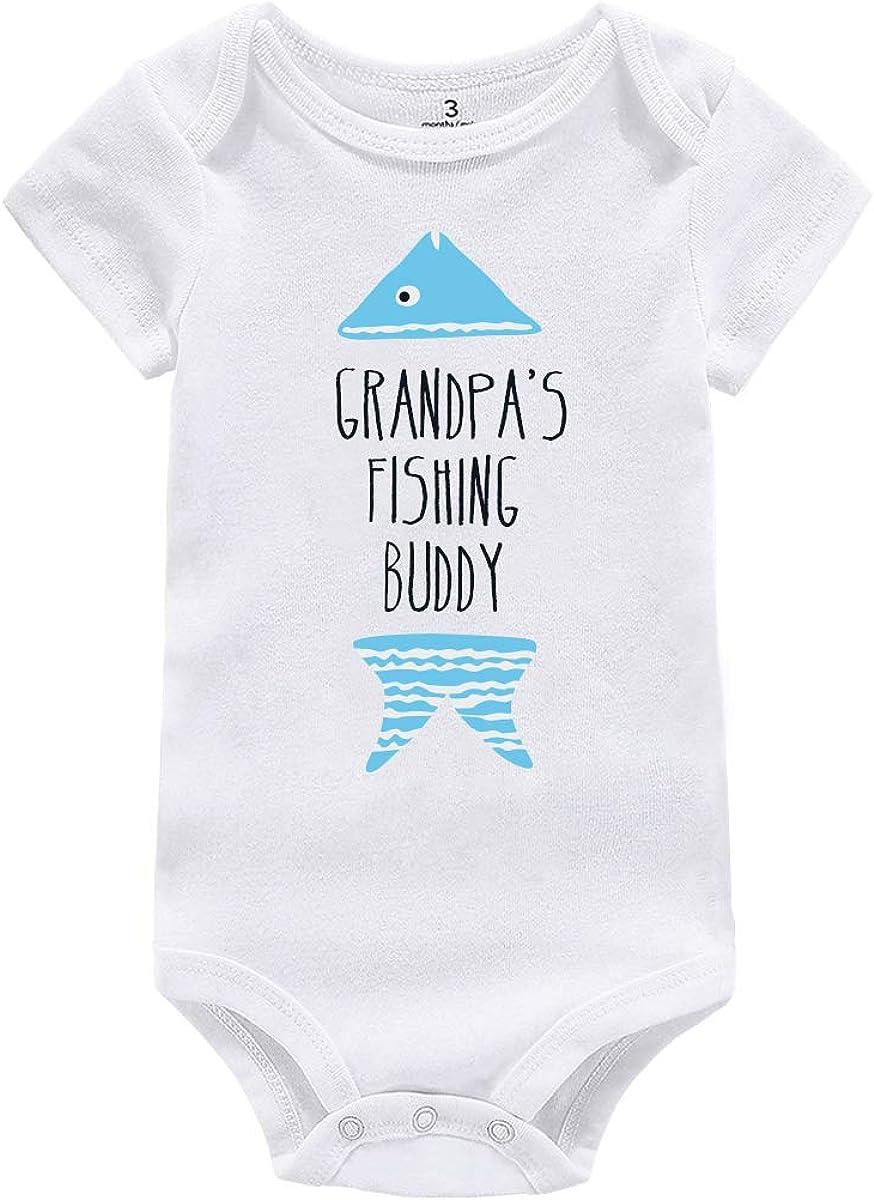 AMMENGBEI Newborn Infant Baby Boys Girls Romper Cute Grandpa's Fishing Buddy Summer Winter Bodysuit