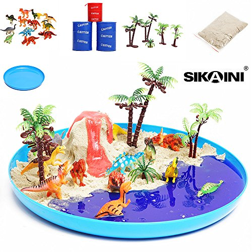 (22 Piece) DIY Slime Dinosaur toy Playset,Volcano Beach Sand of Toys Play Set:Ultimate Educational Toy of 12 Realistic Dinosaurs + 5 Trees + 3 Barrel Of Slime + 1 Beach Sand + 1 Sand Tray,Top Dinosaur