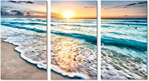 7CANVAS 3 Panel Canvas Wall Art for Home Decor Beach Painting Blue Sea Sunset Seascape Picture Print Ocean Pictures for Living Dining Room Bedroom Ready to Hang 16x24 Inchx3pcs