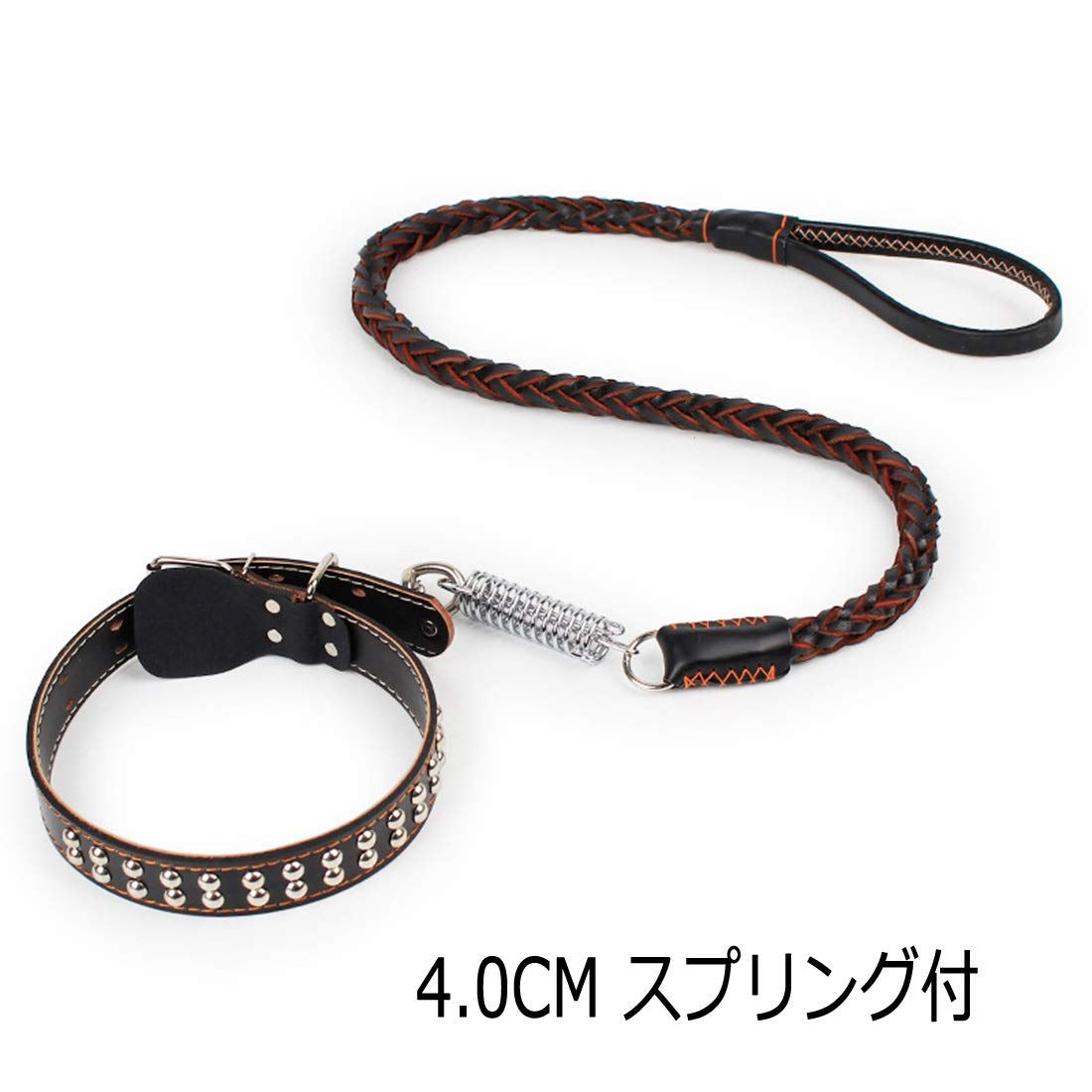 4.0cm Spring YY4 Dog extendable Lead Impact Resistance Collar Harness Lead lace-up Leather Spring Training Discipline Medium Dog Large Dog Walk Walking Trainer unstretched Tow Rope (Size   4.0cm Spring)