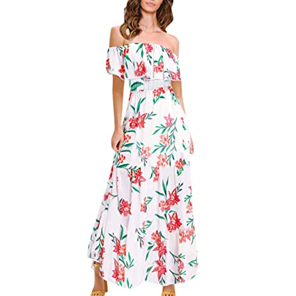 06994b41b0ac Image Unavailable. Image not available for. Color  Womens Floral Off The  Shoulder Ruffle Party Dresses Beach Maxi Dress