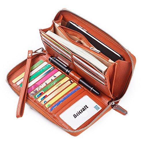 Women RFID Blocking Wallet Genuine Leather Zip Around Clutch Large Travel Purse Brown