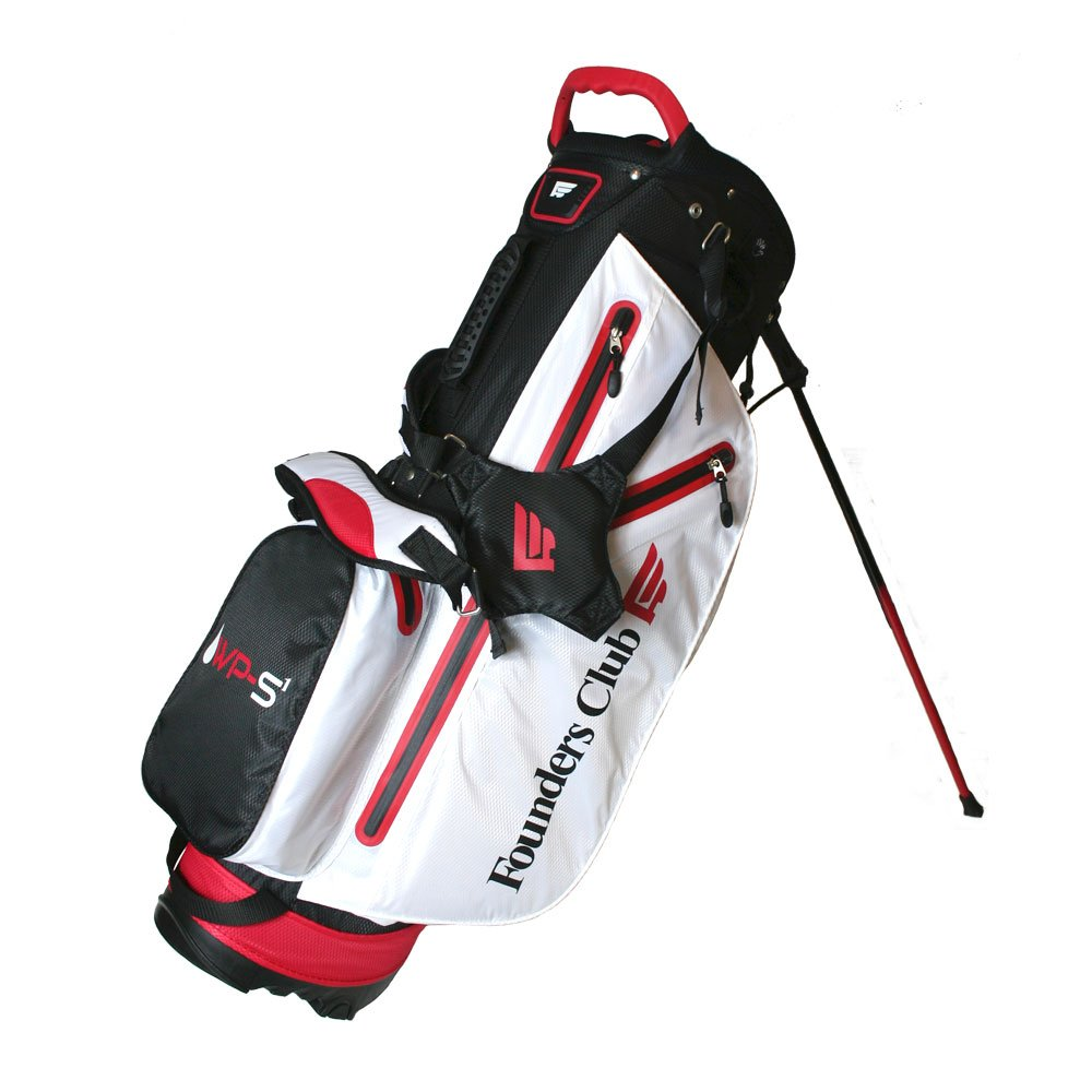 Founders Club Waterproof Golf Stand Carry Bag with 14 Way Top -Light Weight - Red White Black