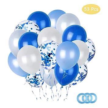 Dsaren 50 Piezas Globos de Confeti Azules Globos de Látex ...