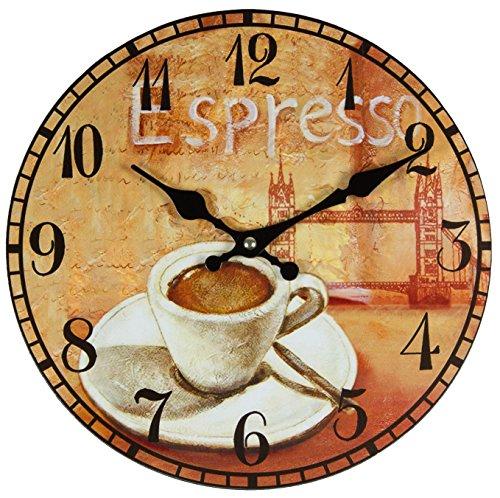 Perla pd Design Reloj de pared, de cocina, diseño vintage, diámetro aprox. 28 cm, madera, espresso: Amazon.es: Hogar