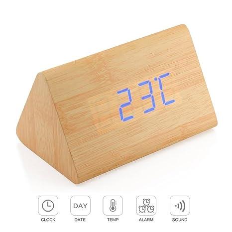 Reloj de alarma digital - 3 Conjunto de alarma, Temperatura del tiempo - Control de