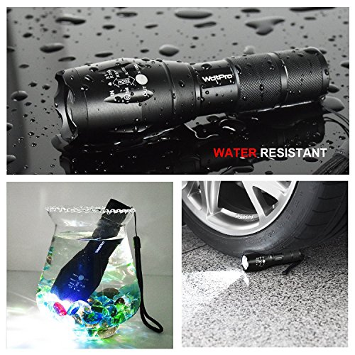 Wdtpro LED Tactical Flashlights, XML T6 LED Flashlight with Adjustable Focus and 5 Light Modes, 1000 Lumen Water Resistant Torch, Powered Tactical Flashlight for Camping Hiking etc?