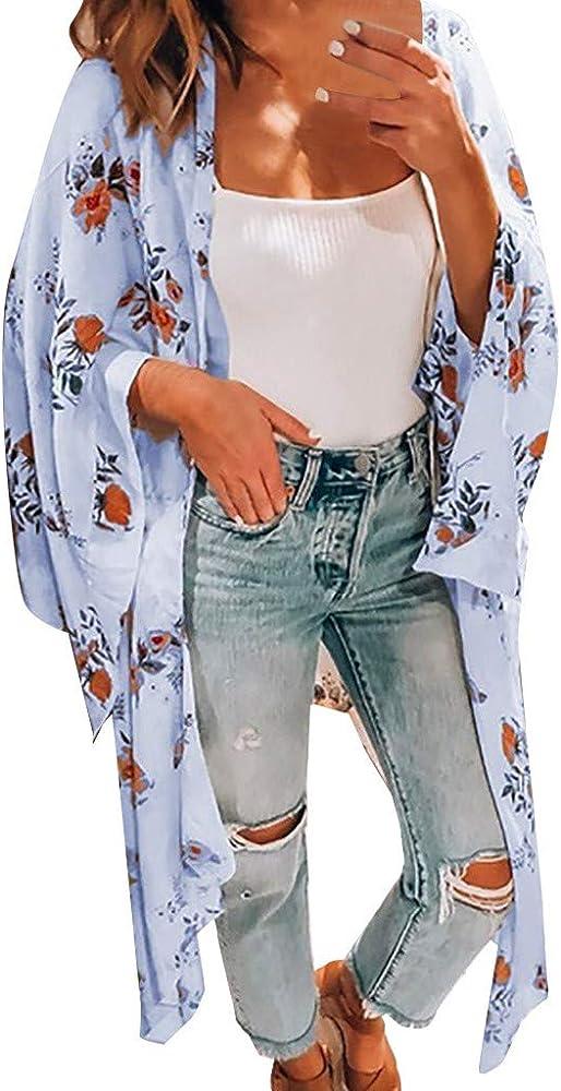 Gusspower Chaqueta Playa Mujer Kimono Cárdigan Gasa Blusa con Estampado Floral Bohemia Tops Largos Retro Ropa de Playa Bikini Cover Up Talla Grande Suelto Camisa Trajes De Baño: Amazon.es: Ropa y accesorios