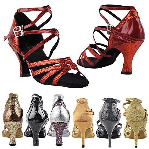 50 Tinten 5008 Comfort Avondjurk Pump Sandalen, Dames Ballroom Dansschoenen (2,5, 3 & 3,5 Hoge Hakken) Rode Sparkle & Rood