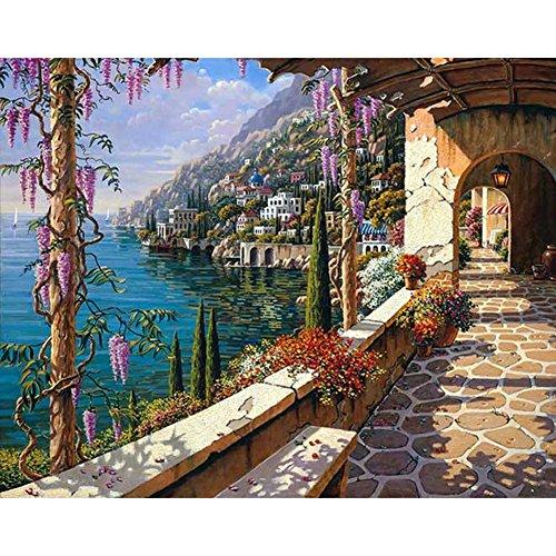 Smartcoco 5D DIY Diamond Painting Mediterranean Scenery Cross Stitch 3D Diamond Mosaic Embroidery Wall Craft Decor 11.8