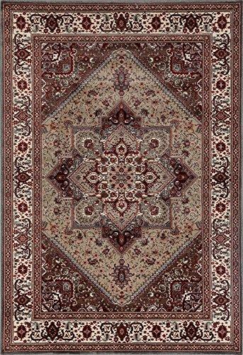 Art Carpet Dexter Collection Kaleidoscope Woven Area Rug, 4' x 6', Mushroom/Red - Rugs Kaleidoscope Collection