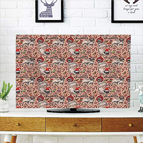 iPrint LCD TV Cover Lovely,Pug,Merry Christmas Dogs Celebrating The Holiday Comedy Image Antlers Hats Candy Cones Decorative,Rose Red Green,Diversified Design Compatible 55