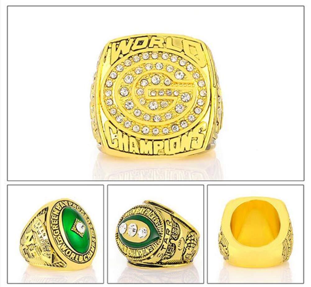 ZXY GF-Sports Tienda Conjunto de 6 Green Bay Packers Campeonato Replica Ring por Caja de presentaci/ón-Moda magn/ífica joyer/ía Coleccionable
