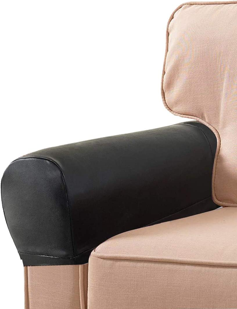 LERTREE 1 Pair PU Leather Sofa Armrest Covers Armchair Arm Covers Stretchy Furniture Protectors for Couch Chair Arm (Black)