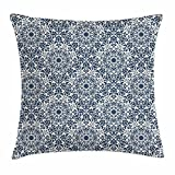 Dick Sidney Traditional Throw Pillow Cushion Cover, Oriental Circles with Leaf Silhouettes Patterns from Eastern Civilizations, Decorative Square Accent Pillow Case Beige Blue Grey