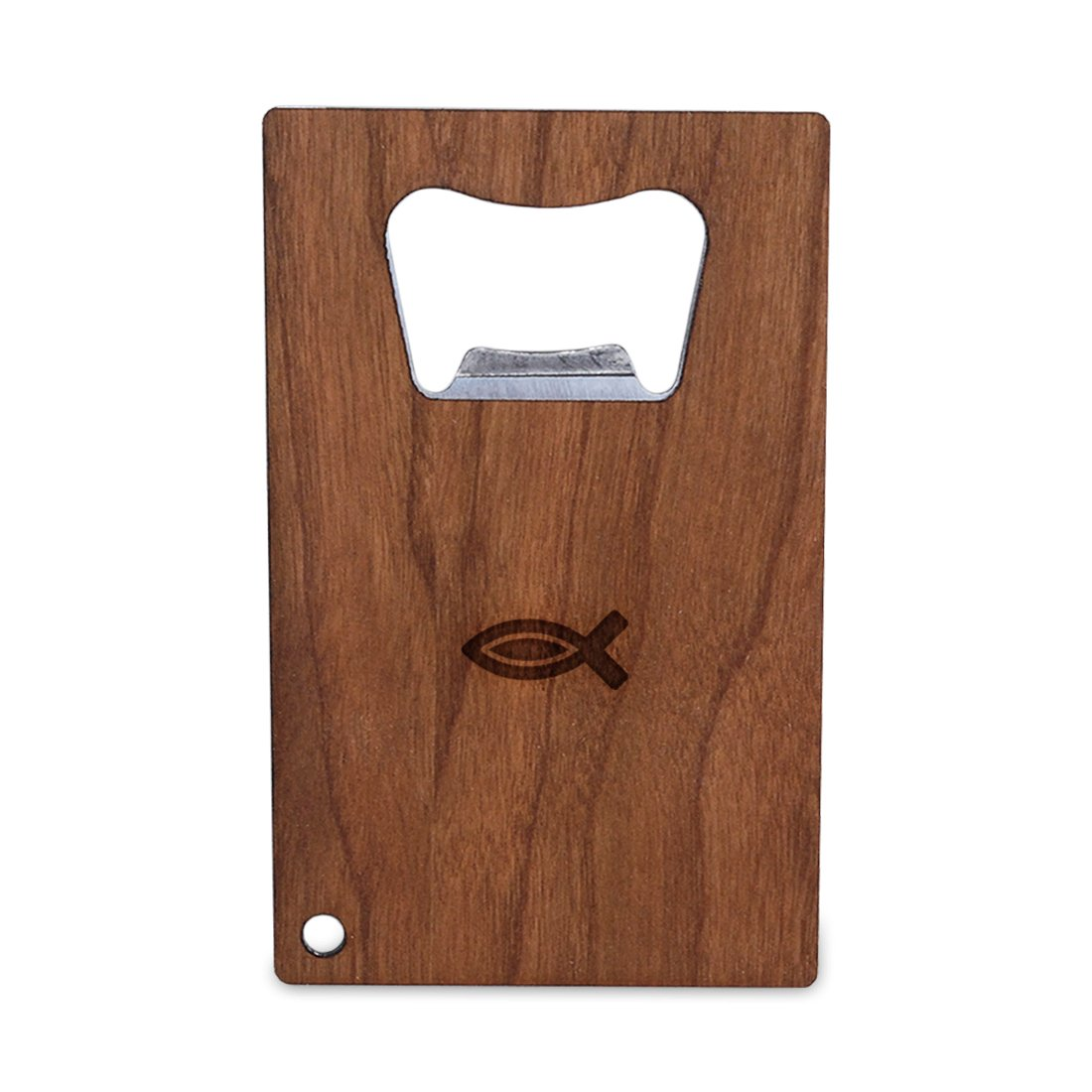 Christian Fish Bottle Opener With Wood, Stainless Steel Credit Card Size, Bottle Opener For Your Wallet, Credit Card Size Bottle Opener