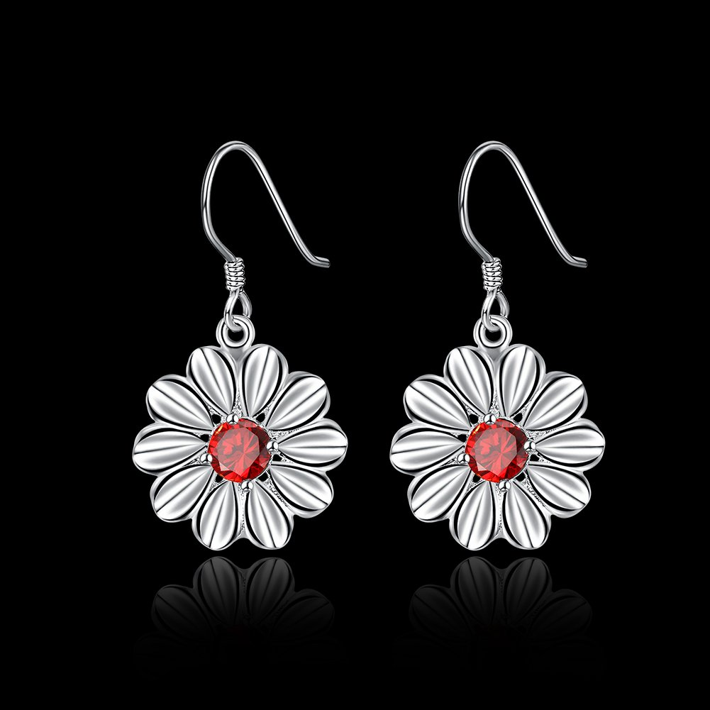 MXYZB Silver Plated Daisy Flower Dangle Earrings Red Cubic Zirconia Jewelry for Women Girls by MXYZB (Image #2)