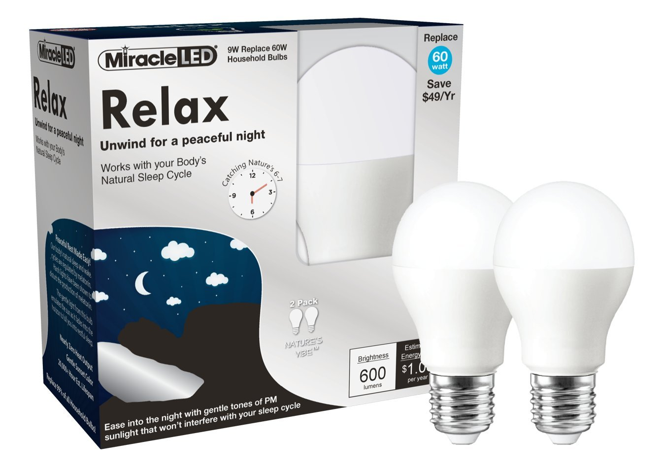 Miracle LED Nature's Vibe Relax Sweet Dreams Nighttime LED Light Bulb