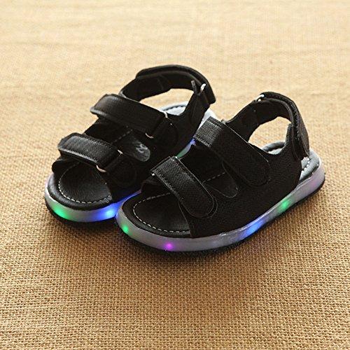 Juleya Las sandalias de los niños de Prewalk del LED encienden para arriba los zapatos de la sandalia de la playa negro