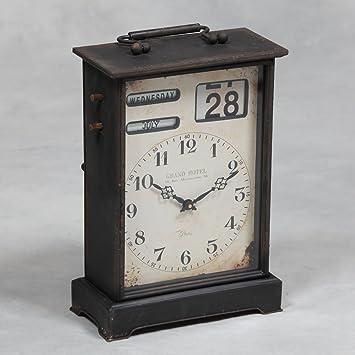 Grand Calendrier Horloge De Cheminee Industrielle En Noir Avec
