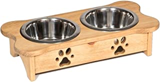 product image for Bone Shaped Elevated Dog Pet Feeder Stainless Steel Bowls