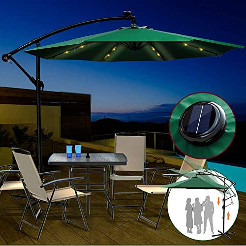 Outdoor Umbrella with Solar Lights 9ft Patio Hanging Umbrella with Crank and 6 Rids for Garden Market Backyard Green