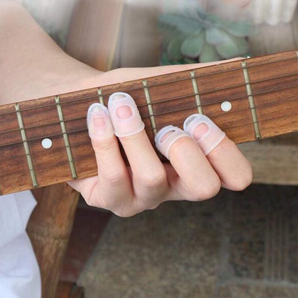 PRENKIN 5PCS Finger Protector Fingerstall Silicone della Stringa della Chitarra Dito della Mano Dito della Protezione della Mano Sinistra per Guitar Player