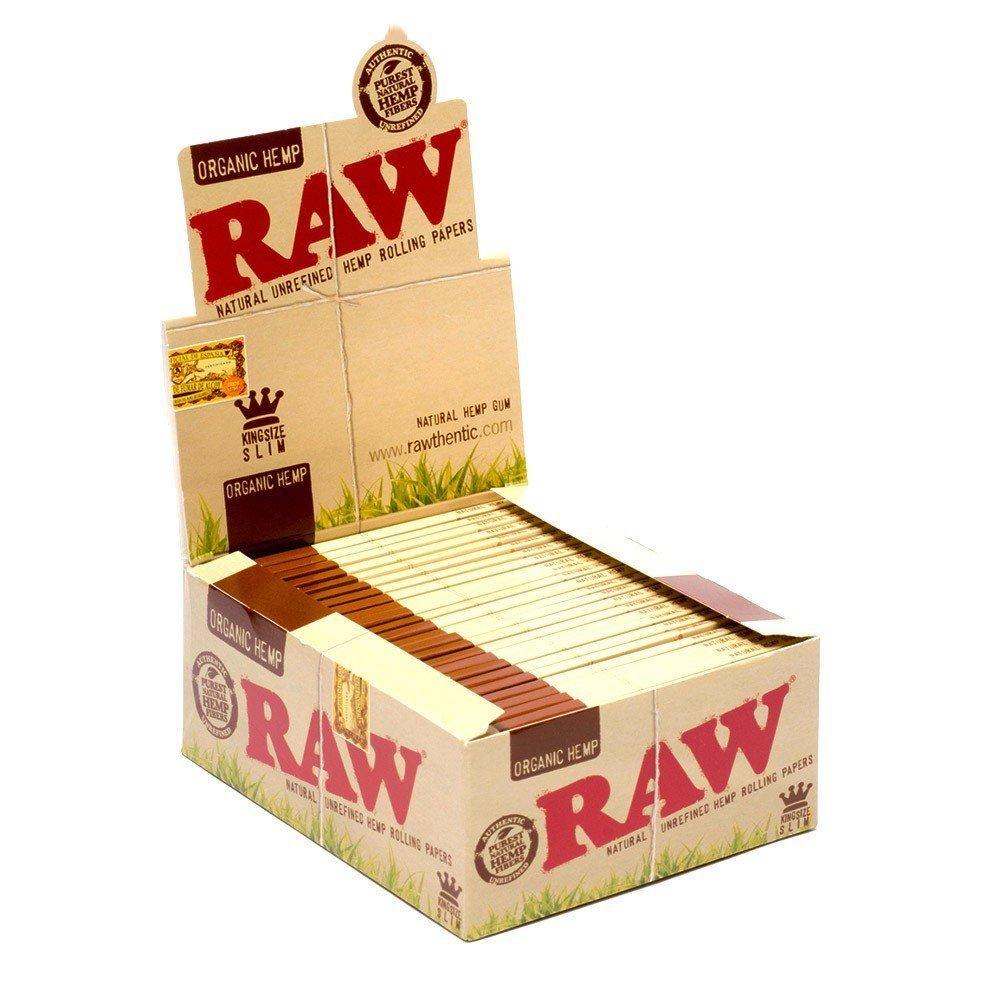 Raw King Size Slim Organic Hemp Rolling Papers Full Box Of 50 packs