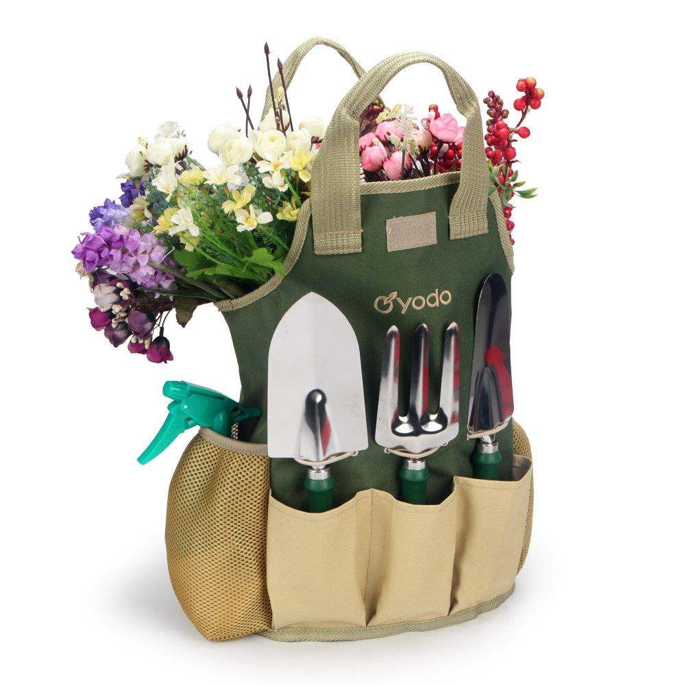 Yodo 8 Piece Garden Tools Set For Men U0026 Women   Heavy Duty Storage Tote Bag